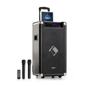 """Auna Moving 120, PA systém, 2 x 8"""" woofer, 60 / 200 W max. , VHF mikrofón, USB, SD, BT, AUX, prenosný vyobraziť"""