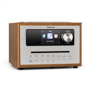 Auna Silver Star CD Cube, rádio, bluetooth, HCC displej, drevo, hnedé vyobraziť