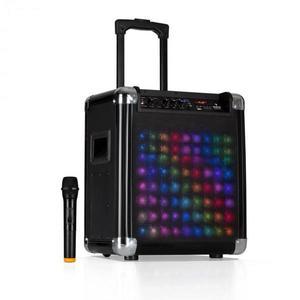 """Auna Moving 80.2 LED, PA systém, 8"""" woofer, 100 W max., VHF mikrofón, USB, SD, BT, AUX, prenosný vyobraziť"""