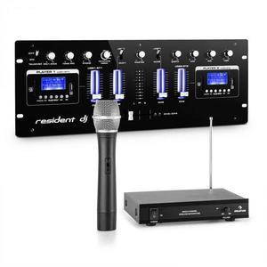 Resident DJ DJ405USB-BK, 4-kanálový DJ mixážny pult, vrátane 1-kanálovej VHF bezdrôtovej mikrofónovej sady vyobraziť