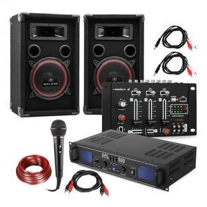 Electronic-Star DJ-14 BT, DJ PA set, PA zosilňovač, BT mixážny pult, 2 x reproduktor, karaoke mikrofón vyobraziť