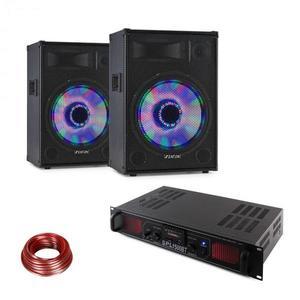 LED15BT, DJ PA sada, 2 x PA reproduktor Fenton, HiFi zosilňovač Skytec, reproduktorový kábel vyobraziť