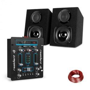 Resident DJ DJ-25, sada zariadení, DJ mixér + auna ST-2000, reproduktor, čierna/modrá vyobraziť