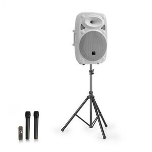 """Auna Streetstar 15, mobilný PA systém + statív, 15"""" woofer, UHF mikrofón, 1000 W, biely vyobraziť"""