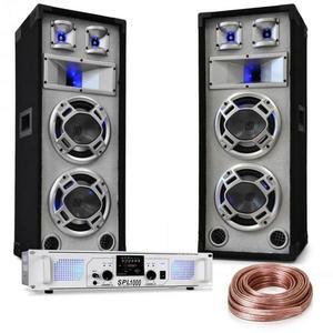"""Electronic-Star """"White Noise"""", DJ PA set, 2 x 500W zosilňovač, 600W reproduktory, reproduktorový kábel vyobraziť"""