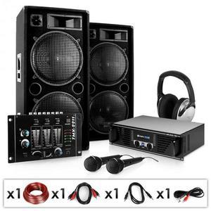 Electronic-Star Block-Party, PA systém, set, zosilňovač, reproduktory, mikrofón a mixážny pult vyobraziť