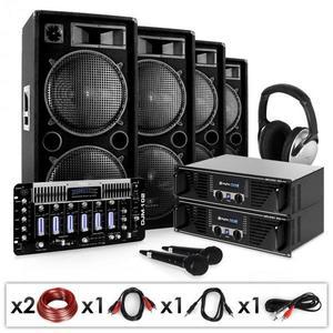Electronic-Star Bass First Pro, DJ PA systém, 2 x zosilňovač, 4 x reproduktor, mixážny pult vyobraziť
