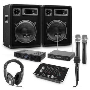 Auna PA sada Mannheim, 7-dielna DJ sada | 2 x 3-pásmový reproduktor | zosilňovač | mixážny pult vyobraziť