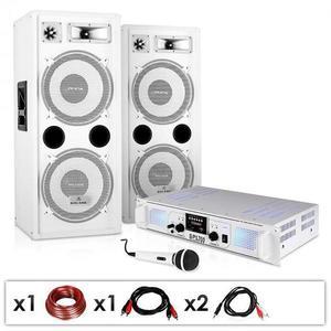 """Electronic-Star DJ PA systém """"DJ-22"""", zosilňovač, reproduktory, mikrofón, kábel, 2 x 350 W vyobraziť"""