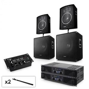 """Electronic-Star Sada 2.2 PA systému s 2 x zosilňovačom, 2 x 15"""" subwooferom, 2 x 10"""" reproduktorom, mixérom & káblami vyobraziť"""