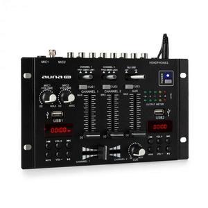 Auna Pro DJ-22BT, MKII, mixér, 3/2 kanálový-DJ-mixážny pult, BT, 2xUSB, montáž na rack, čierny vyobraziť
