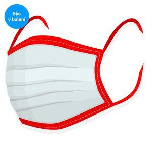 Rúško na tvar 5ks - 100% bavlna červené vyobraziť