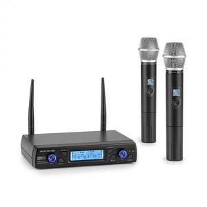 Auna Pro UHF200C-2H, sada 2-kanálových UHF bezdrôtových mikrofónov, prijímač, 2 x ručný mikrofón, čierna vyobraziť