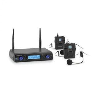 Auna Pro UHF200C-HB, sada 2-kanálových UHF bezdrôtových mikrofónov, prijímač, ručný mikrofón, vysielač vyobraziť