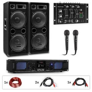 Auna Pro PW-2222 MKII, PA karaoke sada, zosilňovač, 2 pasívne PA reproduktory, mixér, 2 mikrofóny vyobraziť