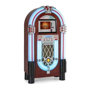 "Auna Graceland Touch, jukebox, 12"" dotykový ovládací panel, WLAN, CD, BT, drevený vzhľad vyobraziť"