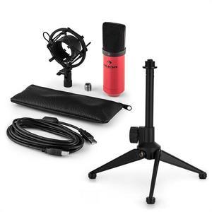 Auna MIC-900RD V1, USB mikrofónová sada, červený kondenzátorový mikrofón + stolný statív vyobraziť