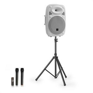 """Auna Streetstar 12, mobilný PA systém + statív, 12"""" woofer, UHF mikrofón, 800 W max., biely vyobraziť"""