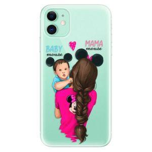 Odolné silikónové puzdro iSaprio - Mama Mouse Brunette and Boy - iPhone 11 vyobraziť