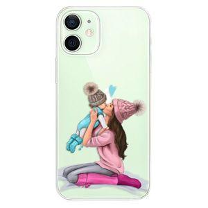 Odolné silikónové puzdro iSaprio - Kissing Mom - Brunette and Boy - iPhone 12 vyobraziť