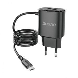 Dudao A2Pro sieťová nabíjačka 2x USB + vstavaný Micro USB kábel 12W, čierna (A2ProM black) vyobraziť